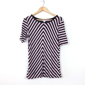 LuLaRoe Pink Black Striped Stretch Perfect T Shirt